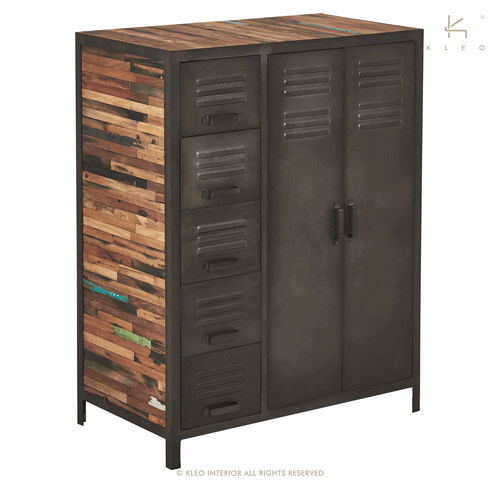 achat penderie en m tal et bois recycl de style industriel un meuble d co et pratique la fois. Black Bedroom Furniture Sets. Home Design Ideas