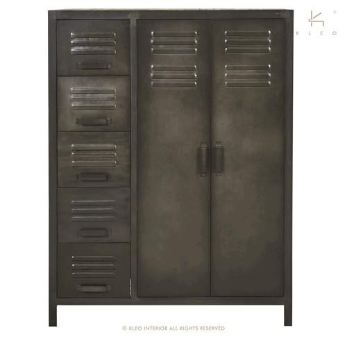 Achat penderie en m tal et bois recycl de style industriel un meuble d co et pratique la fois - Armoire penderie 2 portes ...
