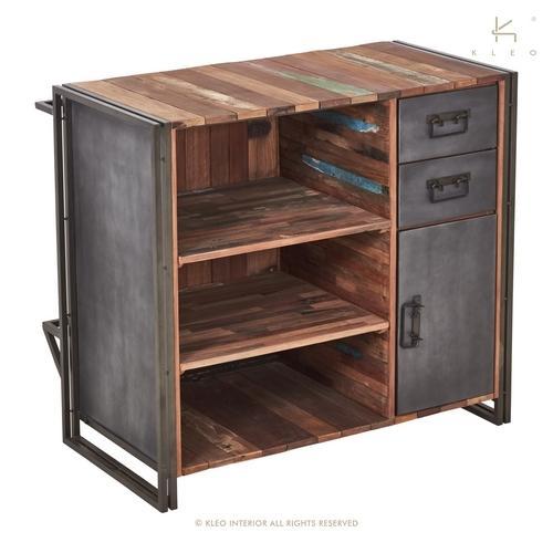 Bar 120 cm bois recycl et m tal le charme du bois ancien for Bar bois exterieur