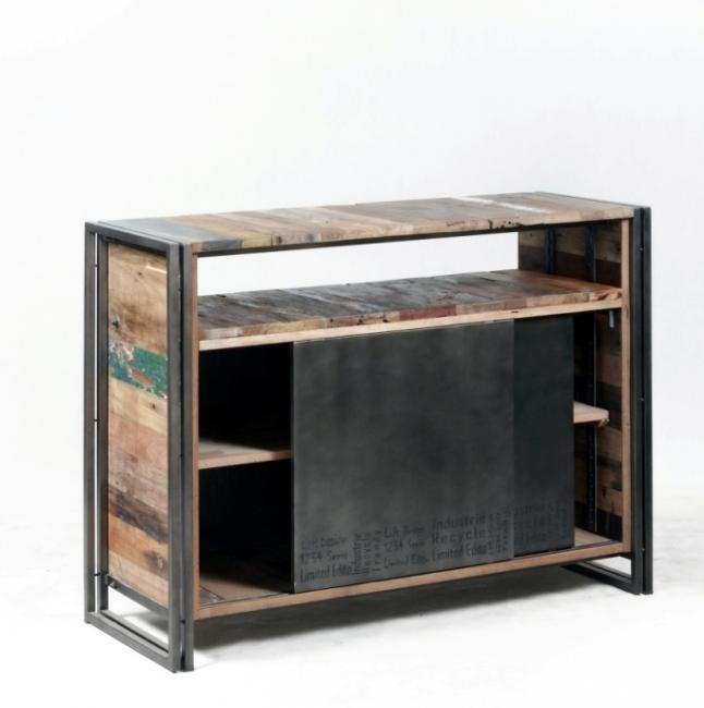 vente buffet 120 cm bois recycl et m tal des meubles authentiques et uniques. Black Bedroom Furniture Sets. Home Design Ideas