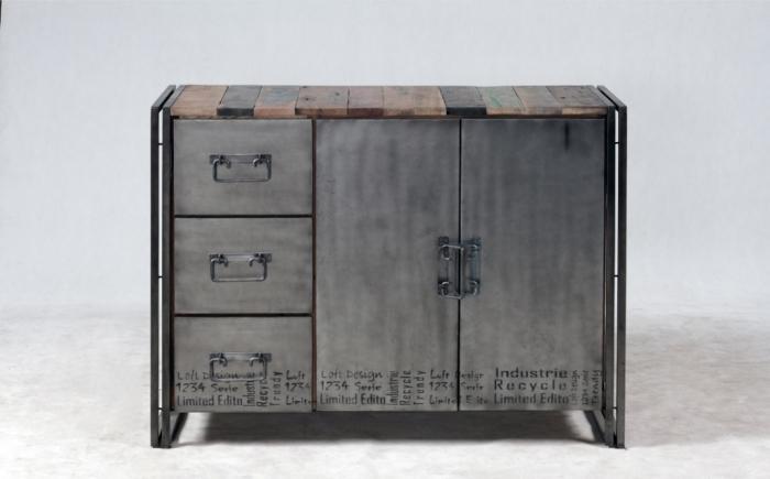 achat petit buffet 120 cm en bois recycl et m tal buffet 2 portes coulissantes et 3 tiroirs. Black Bedroom Furniture Sets. Home Design Ideas