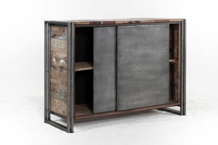 vente buffet 120 cm bois recycl et m tal buffet 2 portes. Black Bedroom Furniture Sets. Home Design Ideas