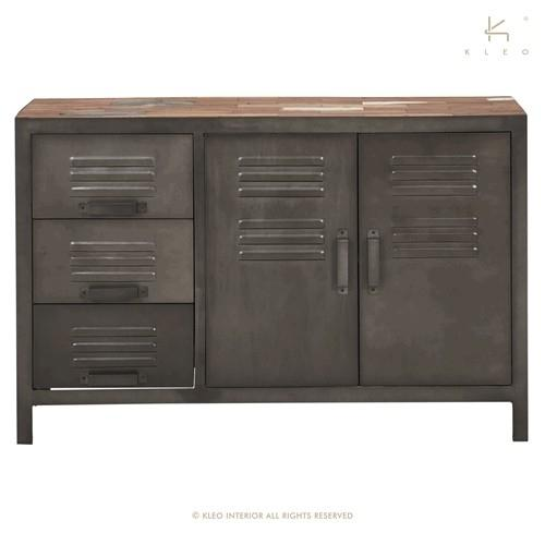 achat meuble industriel buffet 120 cm quip de 2 portes et de 3 tiroirs plateau bois recycl. Black Bedroom Furniture Sets. Home Design Ideas