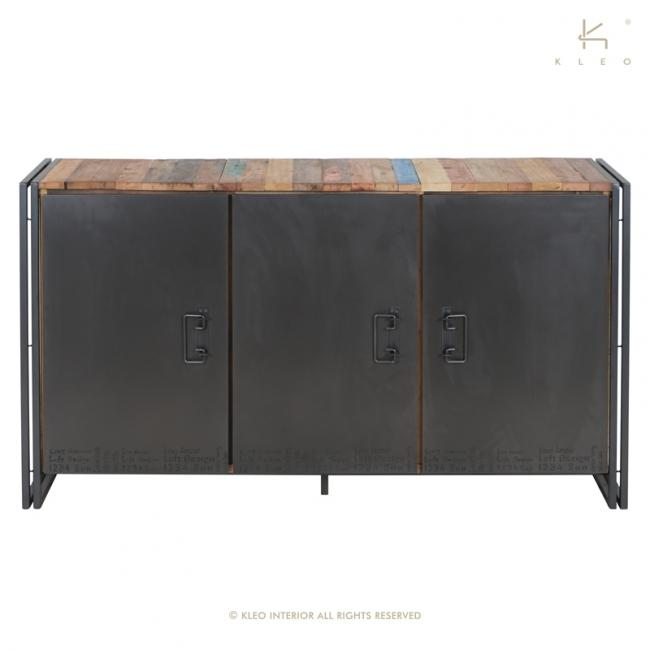 buffet en bois recycl et m tal 160 cm de long un style industriel pour votre salon. Black Bedroom Furniture Sets. Home Design Ideas