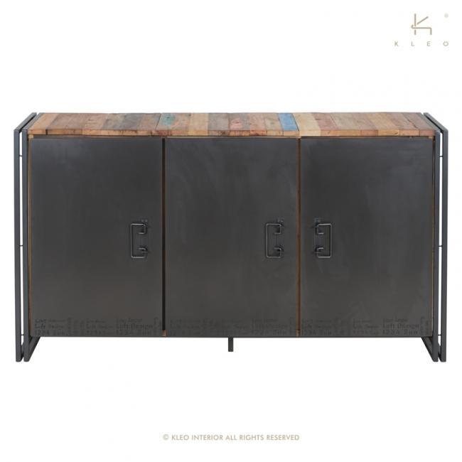 buffet en bois recycl et m tal 160 cm de long un style industriel pour votre salon. Black Bedroom Furniture Sets. Home Design Ideas