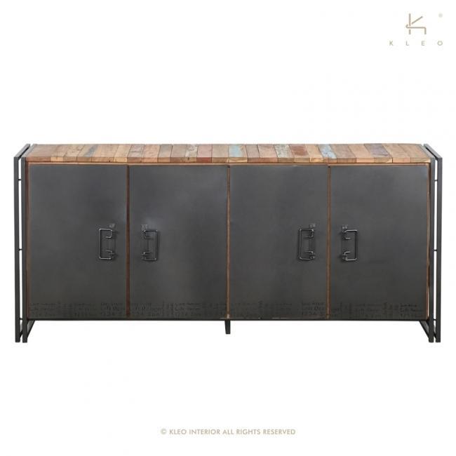 buffet en bois recycl et m tal 180 cm de long avec 4 portes un style industriel pour votre salon. Black Bedroom Furniture Sets. Home Design Ideas
