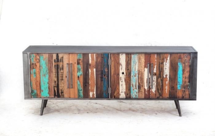 achat grand buffet 4 portes 2 m tres de long un esprit industriel et tendance. Black Bedroom Furniture Sets. Home Design Ideas
