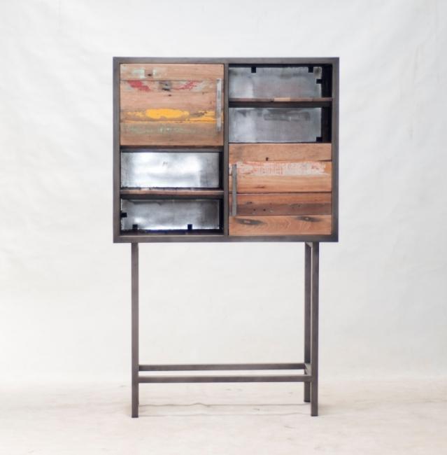 achat bahut haut vintage quip de 2 portes battantes et de 4 compartiments ouverts. Black Bedroom Furniture Sets. Home Design Ideas