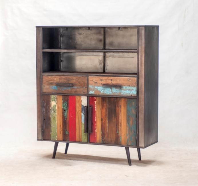 buffet haut industriel et vintage quip de 2 portes battantes 2 tiroirs et 2 compartiments ouverts. Black Bedroom Furniture Sets. Home Design Ideas