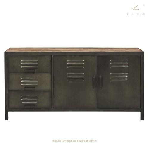 achat buffet industriel 160 cm equipe de 3 tiroirs et 2 portes fabriqu en m tal et en bois. Black Bedroom Furniture Sets. Home Design Ideas