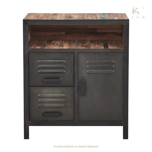 achat petit buffet industriel de 78 cm de long et 90 cm de haut. Black Bedroom Furniture Sets. Home Design Ideas