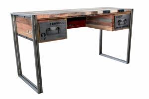 Bureau en bois recyclé et métal dans le style atelier industriel