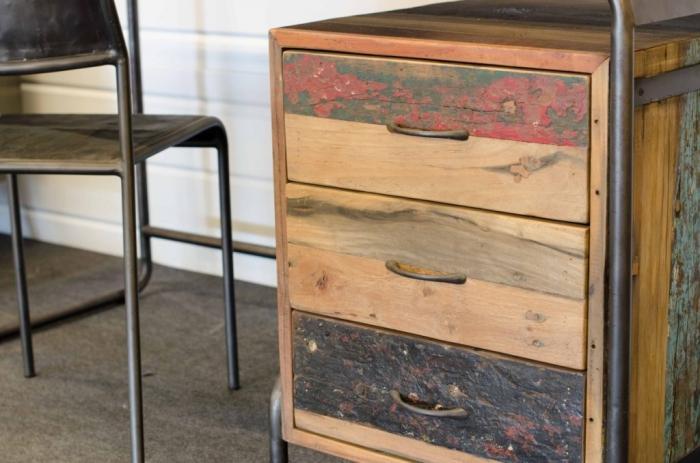 Bureau bois recyclé bureau tiroirs osiris pas cher en vente chez