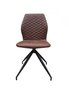 Chaise GRAY design en microfibre marron