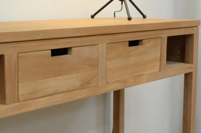 achat console teck 120 cm cette console en teck vous s duira par sa ligne sobre et pur e. Black Bedroom Furniture Sets. Home Design Ideas