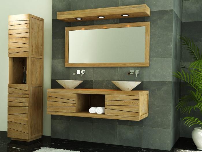 Achat meuble de salle de bain brehat walk meuble en teck for Meuble deco salle de bain