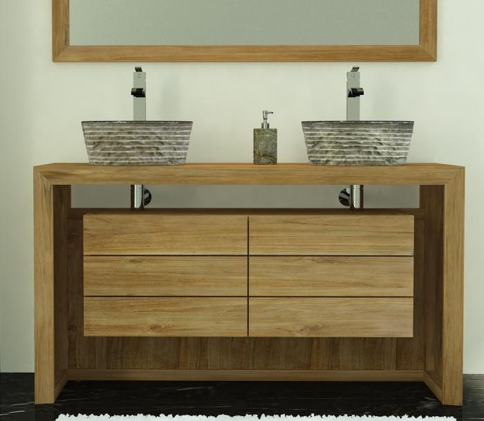 meuble salle de bain bois 140 cm