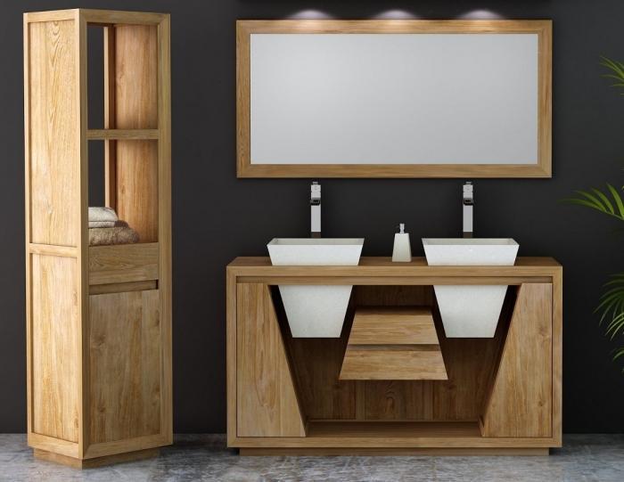 achat meuble salle de bain teck oc ane 150 cm double vasques equip de 2 portes et de 2 tiroirs. Black Bedroom Furniture Sets. Home Design Ideas