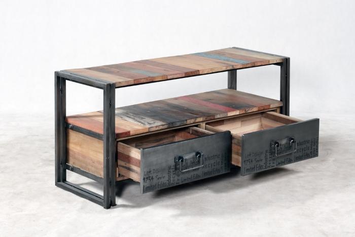 Meuble Salon Industriel #5: Meuble TV 112 Cm EVASION 2 Tiroirs