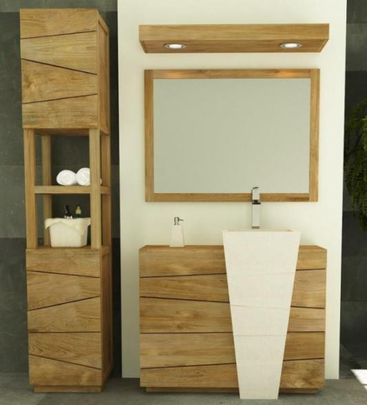 meuble de salle de bain en teck avec vasque