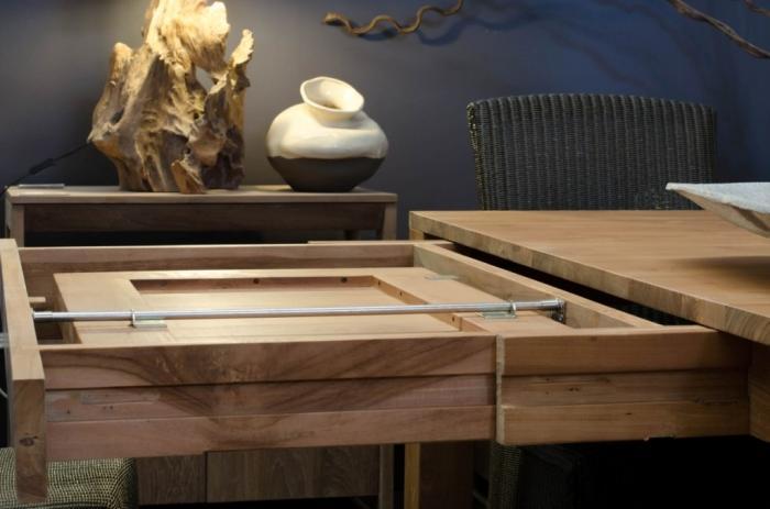 table de repas 12 personnes carre en teck 140x140 2 rallonges intgres - Table De Repas Avec Rallonge