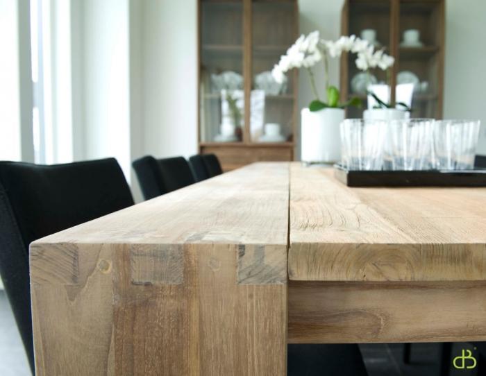 vente table en teck dbodhi carree gamme fissure - table - salon