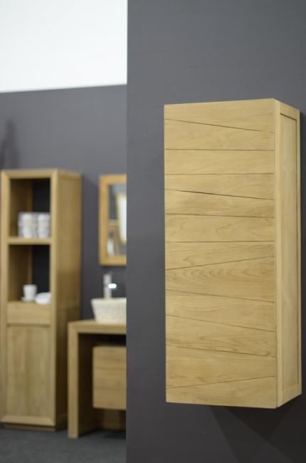 achat colonne de salle de bain murale en teck brehat hauteur 105 cm un plus pour votre rangement. Black Bedroom Furniture Sets. Home Design Ideas
