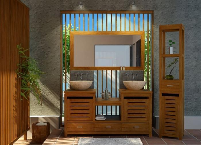 achat vente colonne tag re de salle de bains en teck. Black Bedroom Furniture Sets. Home Design Ideas