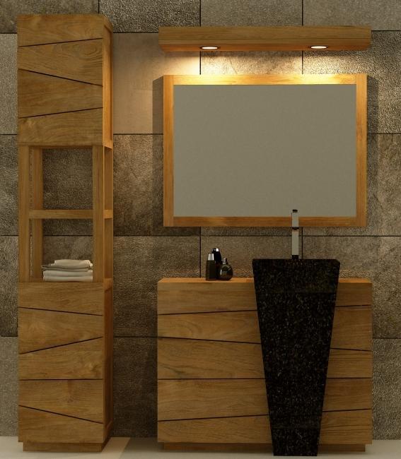 Achat vente colonne tag re de salle de bains en teck for Colonne salle de bain urban