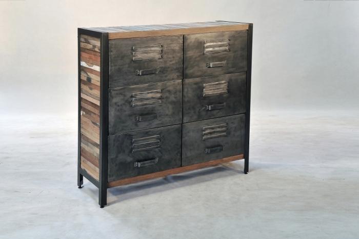 achat commode de style industriel avec 6 tiroirs de rangement fabriqu en m tal et bois recycl. Black Bedroom Furniture Sets. Home Design Ideas