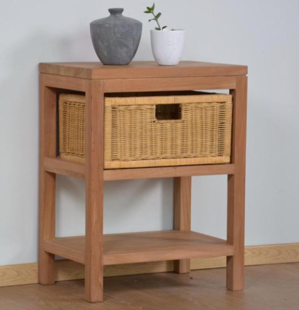 achat console 1 panier rotin teck walk console en teck. Black Bedroom Furniture Sets. Home Design Ideas