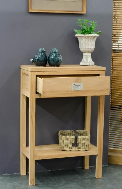 achat console 1 tiroir teck walk meuble d 39 appoint en teck entr e couloir console teck massif. Black Bedroom Furniture Sets. Home Design Ideas