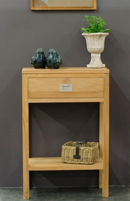 achat console 1 tiroir teck walk meuble d 39 appoint en. Black Bedroom Furniture Sets. Home Design Ideas