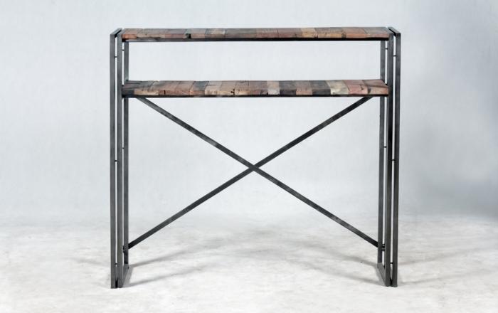 vente console 120 cm bois recycl et m tal des meubles authentiques et uniques. Black Bedroom Furniture Sets. Home Design Ideas