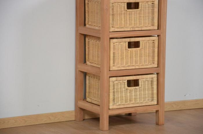 Achat console 3 paniers rotin teck walk meuble d 39 appoint for Petits meubles en rotin