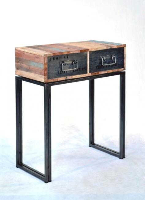 vente console 80 cm bois recycl et m tal cette console. Black Bedroom Furniture Sets. Home Design Ideas