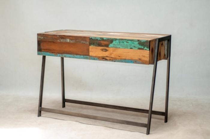 achat console bureau 123 cm de long equip e de 2 tiroirs fabriqu e partir de bois recycl. Black Bedroom Furniture Sets. Home Design Ideas