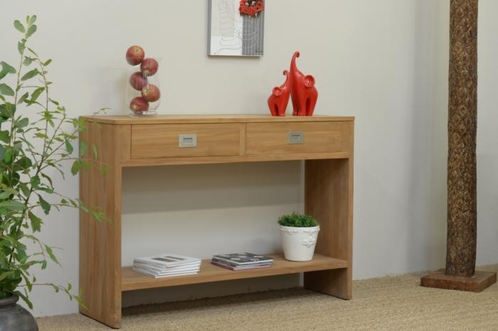achat console teck 2 plateaux walk console en teck console teck massif. Black Bedroom Furniture Sets. Home Design Ideas