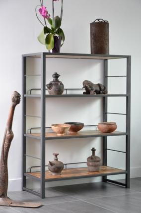 acheter tag re en teck et m tal biblioth que etag re. Black Bedroom Furniture Sets. Home Design Ideas
