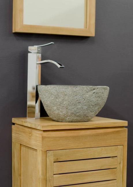 achat petite vasque galet de rivi re id al comme lave main sur un petit meuble de salle de bain. Black Bedroom Furniture Sets. Home Design Ideas