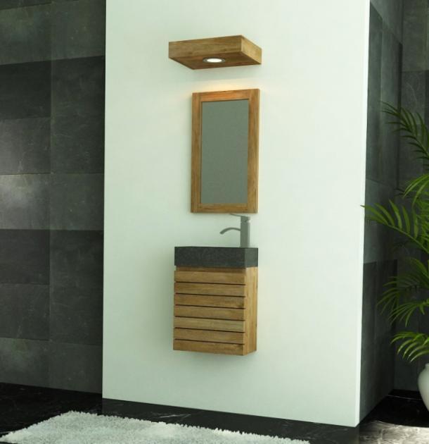 Achat lave main mural teck meuble en teck pour petite for Meuble mural de salle de bain