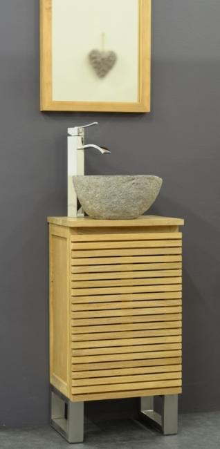 achat petit meuble de salle de bain en teck shades la beaut du teck et de l 39 inox. Black Bedroom Furniture Sets. Home Design Ideas