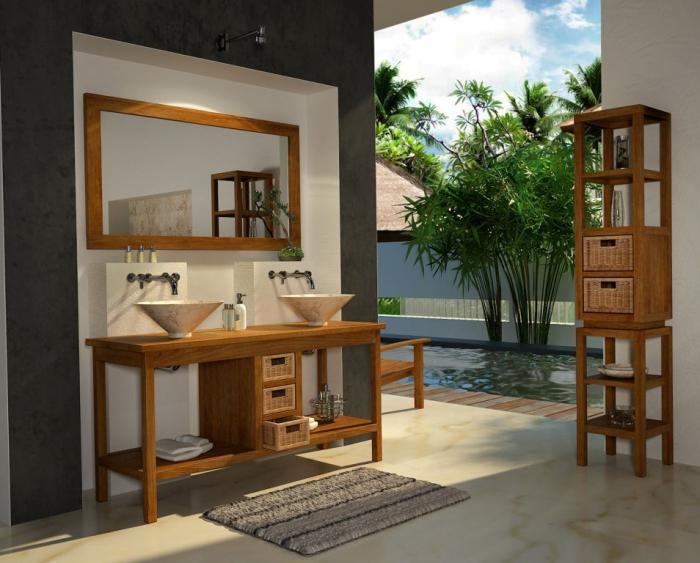 Vente meuble de salle de bains en teck bali l145 walk for Meuble balinais