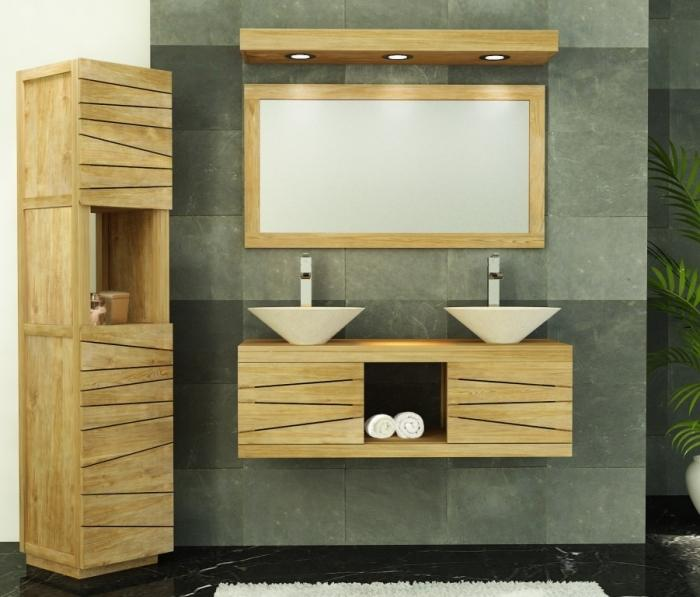 meuble de salle de bain suspendre brehat en 120 cm de long ce meuble peut accueillir 2 vasques. Black Bedroom Furniture Sets. Home Design Ideas