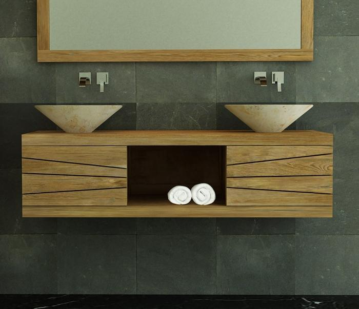 meuble suspendu salle de bain bois. Black Bedroom Furniture Sets. Home Design Ideas