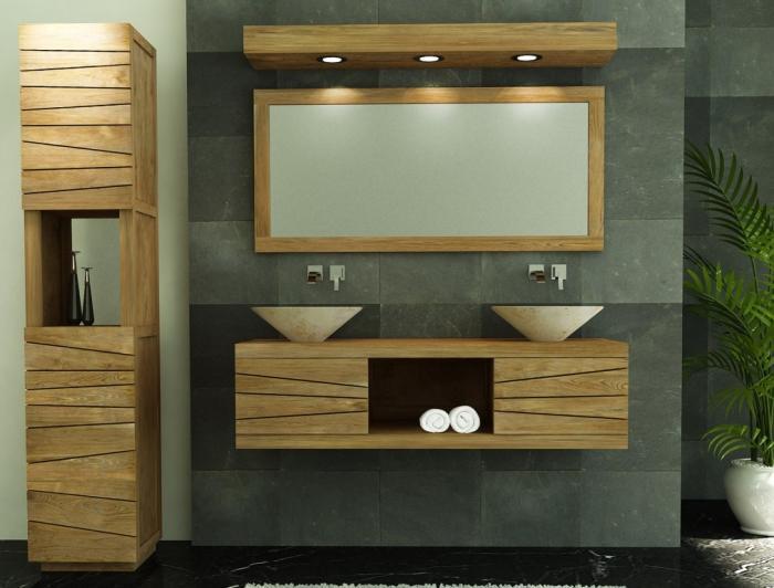 Achat meuble de salle de bain brehat walk meuble en teck for Meuble suspendu salle de bain