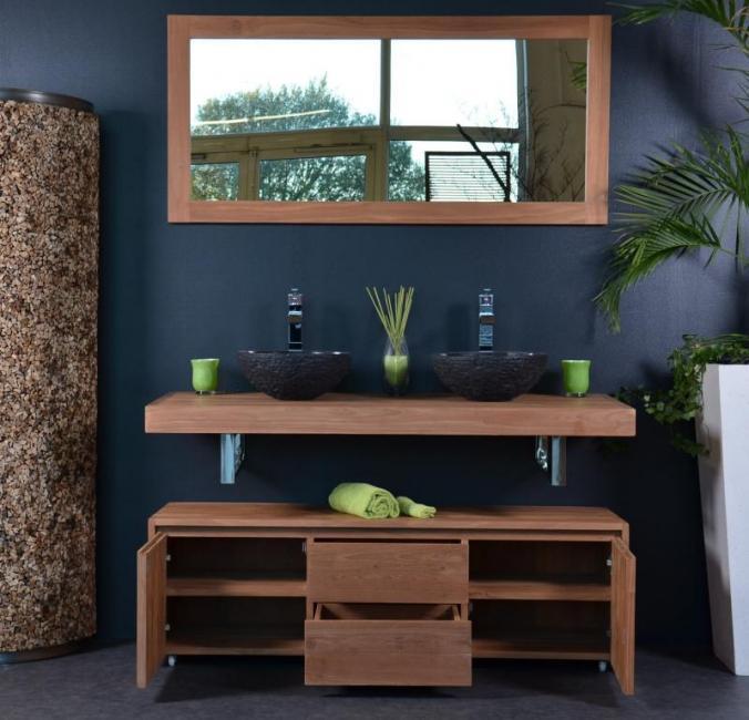 Ensemble salle de bain teck avec des id es for Meuble de salle de bain en teck massif