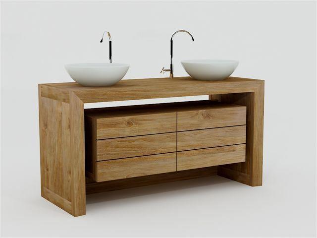 Achat Meuble De Salle De Bain GROIX WALK Meuble En Teck Salle - Meuble salle de bain double vasque a poser