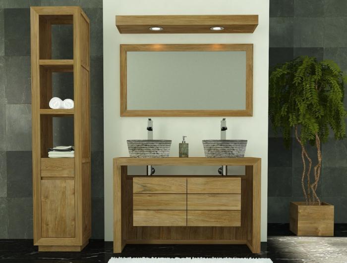 Achat meuble de salle de bain groix walk meuble en teck for Achat salle de bain