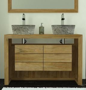 Meuble double vasque en teck pour la salle d 39 eau - Salle de bain en teck ...